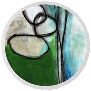 Stones- Green And Blue Abstract Round Beach Towel