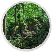 Stones In A Forest In Vogelsberg Round Beach Towel