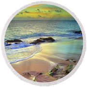 Round Beach Towel featuring the photograph Stones In The Sand At Sunset by Tara Turner