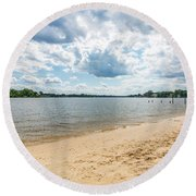 Sand, Sky And Water Round Beach Towel