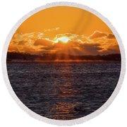 Stonington Point Sunrise Round Beach Towel