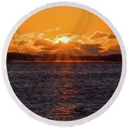 Stonington Point Sunrise Round Beach Towel