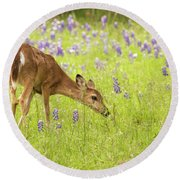 Stop And Smell The Bluebonnets. Round Beach Towel