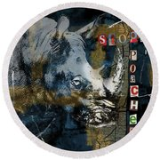 Stop Rhino Poachers Wildlife Conservation Art Round Beach Towel