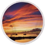 Store Bay, Tobago At Sunset #view Round Beach Towel