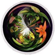 Store Bought Lilies Round Beach Towel