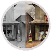 Round Beach Towel featuring the photograph Store - Grocery - Mexicanita Cafe 1939 - Side By Side by Mike Savad