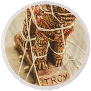 Stories From Ancient Troy Round Beach Towel