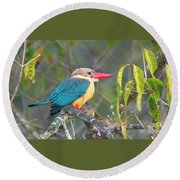 Stork-billed Kingfisher Round Beach Towel