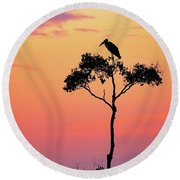 Stork On Acacia Tree In Africa At Sunrise Round Beach Towel