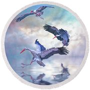 Round Beach Towel featuring the photograph Storks Landing by Brian Tarr