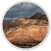 Storm Above Ghost Ranch Mountains Round Beach Towel