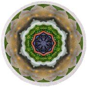 Round Beach Towel featuring the painting Storm Above by Jeff Kolker