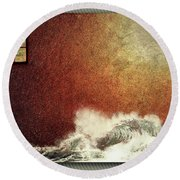 Storm Against The Walls Round Beach Towel