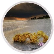 Storm And Sea Shell On Sanibel Round Beach Towel