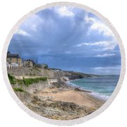 Storm Approaching Porthleven Round Beach Towel