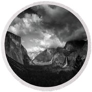 Storm Arrives In The Yosemite Valley Round Beach Towel