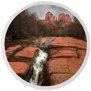 Storm At Cathedral Rock Round Beach Towel