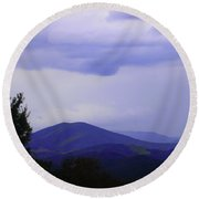 Storm At Lewis Fork Overlook 2014a Round Beach Towel