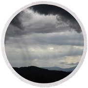 Storm At Lewis Fork Overlook 2014b Round Beach Towel