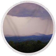 Storm At Lewis Fork Overlook Round Beach Towel