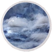 Storm At Sea Round Beach Towel
