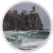 Storm At Split Rock Lighthouse Round Beach Towel