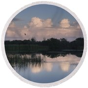 Storm At Sunrise Over The Wetlands Round Beach Towel