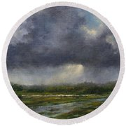 Storm Brewing Over The Refuge Round Beach Towel
