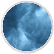 Round Beach Towel featuring the photograph Storm Clouds by Angie Rea