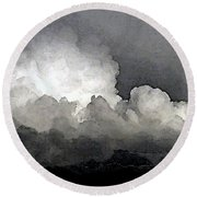 Storm Clouds Are Brewin' Round Beach Towel by Methune Hively