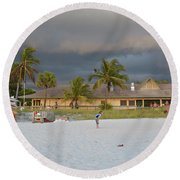 Round Beach Towel featuring the photograph Storm Clouds Arriving by Carol  Bradley