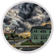 Storm Clouds At Sunset Round Beach Towel