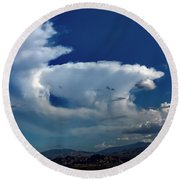 Storm Clouds Round Beach Towel by Chris Tarpening