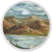Round Beach Towel featuring the painting Storm Clouds by Ellen Levinson