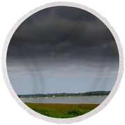 Storm Clouds Moving Over The  Bay Round Beach Towel