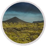Storm Clouds Over Iceland Round Beach Towel