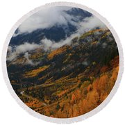 Storm Clouds Over Mcclure Pass During Autumn Round Beach Towel by Jetson Nguyen