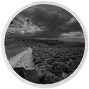 Storm Clouds Over The 4x4 Trail Round Beach Towel