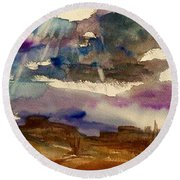 Storm Clouds Over The Desert Round Beach Towel by Ellen Levinson