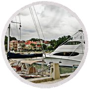 Storm Clouds Over The Harbor Round Beach Towel
