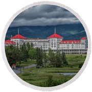 Storm Clouds Over The Mount Washington Hotel Round Beach Towel