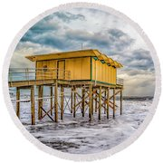 Round Beach Towel featuring the photograph Storm Clouds Over The Ocean by Nick Zelinsky