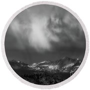 Round Beach Towel featuring the photograph Storm Clouds Over Yosemite by Sharon Seaward