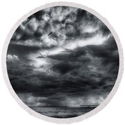Round Beach Towel featuring the photograph Storm Clouds Ventura Ca Pier by John A Rodriguez