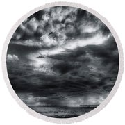 Storm Clouds Ventura Ca Pier Round Beach Towel