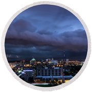 Round Beach Towel featuring the photograph Storm Front by Andrea Silies