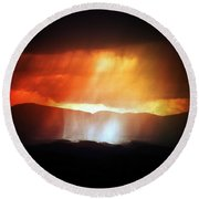 Storm Glow Night Over Santa Fe Mountains Round Beach Towel by Joseph Frank Baraba