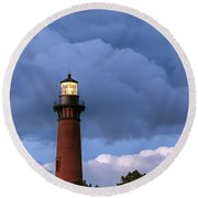 Storm Looms Near Currituck Beach Lighthouse Round Beach Towel