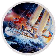 Round Beach Towel featuring the painting Storm Meister by Hanne Lore Koehler